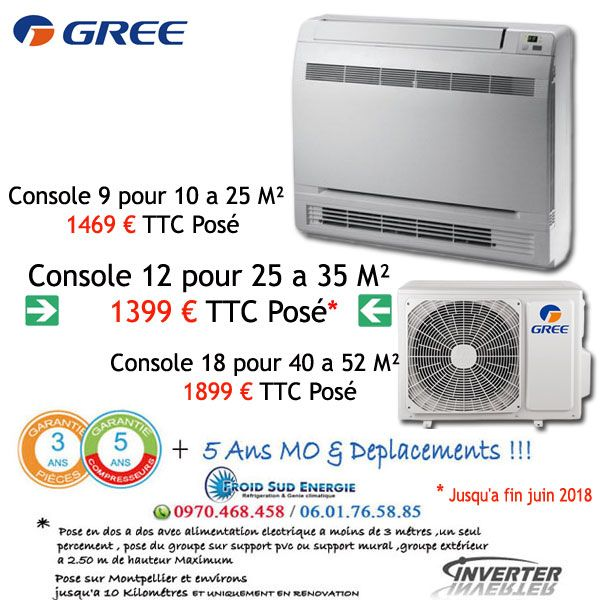 Climatisation Gree console réversible Inverter