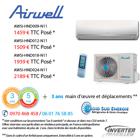 Climatiseur airwell HND Promo