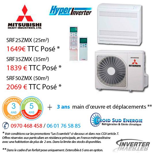 Climatiseur console double flux Mitsubishi Heavy industries SRFRMX-S
