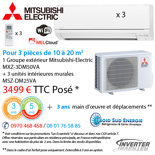 Trisplit réversible inverter Mitsubishi electric MXZ MSZ-3DM50VA